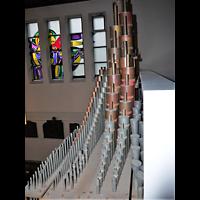 Berlin - Wilmersdorf, Salvatorkirche Schmargendorf, Pfeifenwerk des Rückpositivs