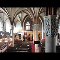 Berlin - Lichtenberg, St. Antonius und St. Shenouda Kirche (koptisch), ehem. Glaubenskirche, Blick von der Orgelempore in die Kirche