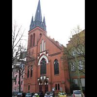 Berlin (Neukölln), St. Clara, Außenansicht Fassade mit Turm