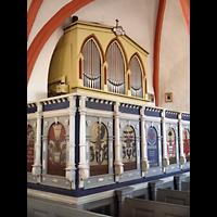 Berlin - Lichtenberg, Taborkirche Hohenschönhausen (Hauptorgel), Orgel mit Emporenbrüstung seitlich