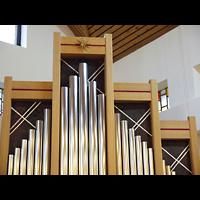 Berlin - Marzahn, Ev.-meth. Versöhnungskirche / Ev. Gemeindezentrum Biesdorf, Prospektdetail mit Zimbelstern